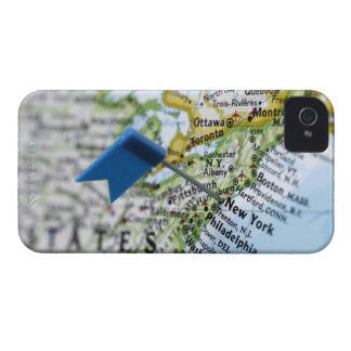 Map pin placed on New York City on map, close-up Case-Mate iPhone 4 Case
