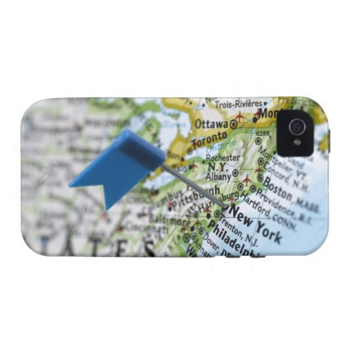 Map pin placed on New York City on map, close-up iPhone 4 Covers