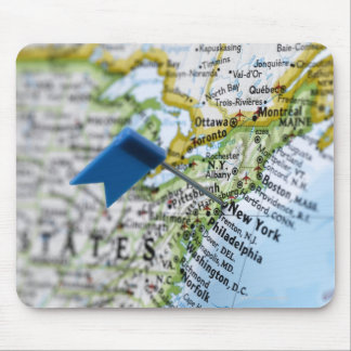 Map pin placed on New York City on map, close-up Mouse Pad