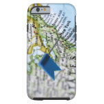 Map pin placed on New York City on map, close-up Tough iPhone 6 Case