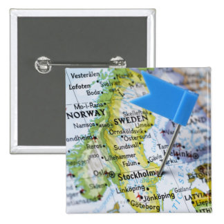Map pin placed on Stockholm, Sweden on map,