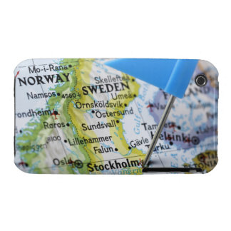 Map pin placed on Stockholm, Sweden on map, iPhone 3 Case-Mate Case
