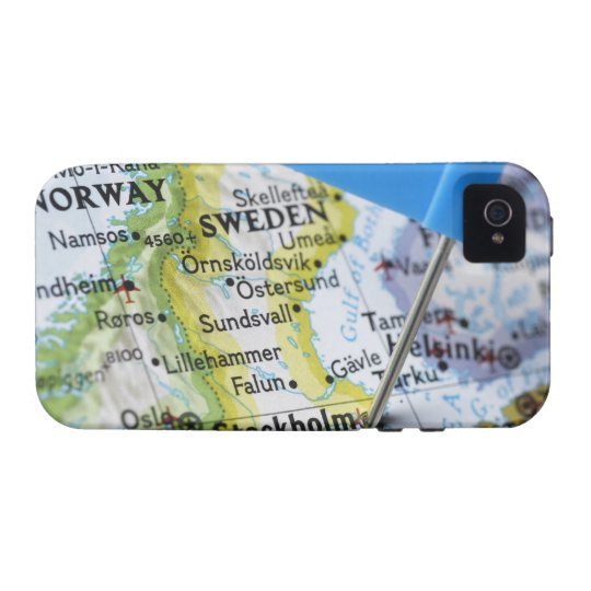 Map pin placed on Stockholm, Sweden on map, Case-Mate iPhone 4 Cover