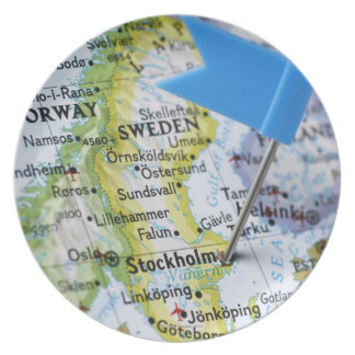 Map pin placed on Stockholm, Sweden on map, Melamine Plate