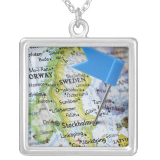 Map pin placed on Stockholm, Sweden on map, Square Pendant Necklace