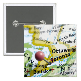Map pin placed on Toronto, Canada on map,