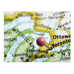 Map pin placed on Toronto, Canada on map, Postcard
