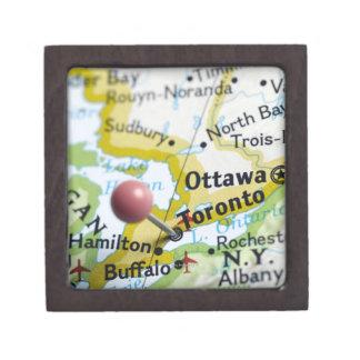 Map pin placed on Toronto, Canada on map, Premium Keepsake Box