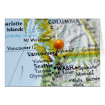 Map pin placed on Vancouver, Canada on map, Card