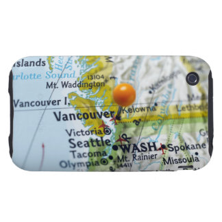Map pin placed on Vancouver, Canada on map, Tough iPhone 3 Covers
