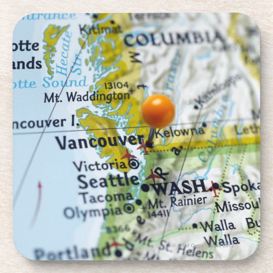 Map pin placed on Vancouver, Canada on map, Coaster