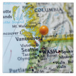 Map pin placed on Vancouver, Canada on map, Large Square Tile