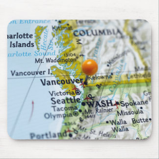 Map pin placed on Vancouver, Canada on map, Mouse Pad