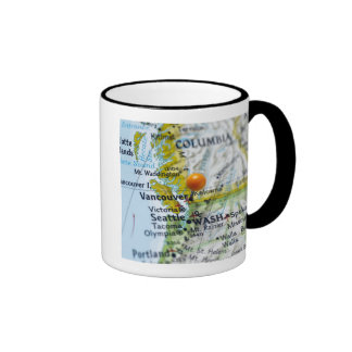 Map pin placed on Vancouver, Canada on map, Mugs