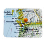 Map pin placed on Vancouver, Canada on map, Flexible Magnet