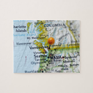 Map pin placed on Vancouver Canada on map Puzzles