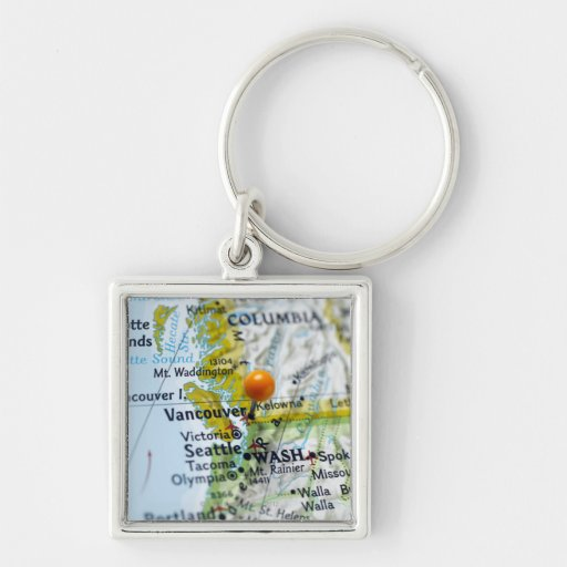 Map pin placed on Vancouver, Canada on map, Silver-Colored Square Keychain