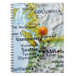 Map pin placed on Vancouver, Canada on map, Spiral Notebook