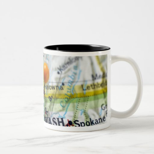 Map pin placed on Vancouver, Canada on map, Two-Tone Coffee Mug