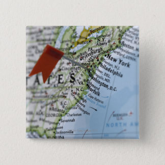 Map pin placed on Washington, D.C. on map,