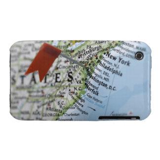 Map pin placed on Washington, D.C. on map, iPhone 3 Cases
