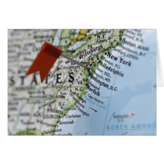 Map pin placed on Washington, D.C. on map, Greeting Card