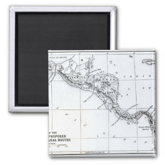 Map Proposed Isthmian Canal Routes 2 Inch Square Magnet