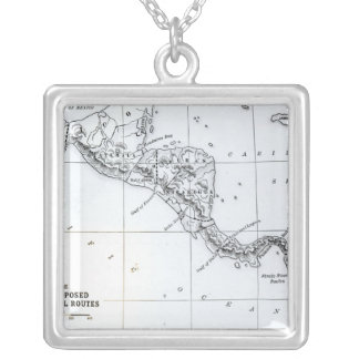 Map Proposed Isthmian Canal Routes Silver Plated Necklace