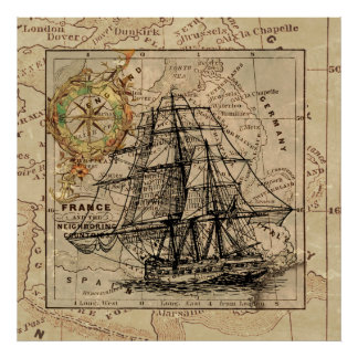Map Retro Sailing Ship Design Poster