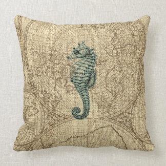 Map Sealife Green Seahorse Illustration Coastal Throw Pillow