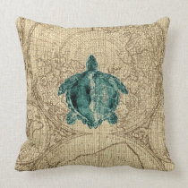 Map Sealife Green Turtle Illustration Coastal Throw Pillow