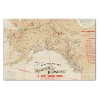 """Map Showing Routes from San Francisco to Alaska 10"""" X 15"""" Tissue Paper"""
