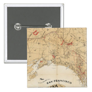 Map Showing Routes from San Francisco to Alaska 2 Inch Square Button
