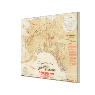 Map Showing Routes from San Francisco to Alaska Canvas Print