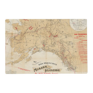 Map Showing Routes from San Francisco to Alaska Laminated Place Mat