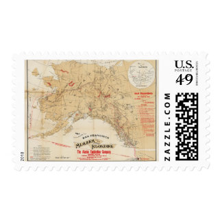 Map Showing Routes from San Francisco to Alaska Postage