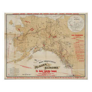 Map Showing Routes from San Francisco to Alaska Poster