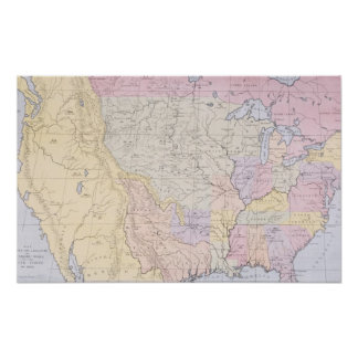 Map showing the localities of the Indian tribes Poster
