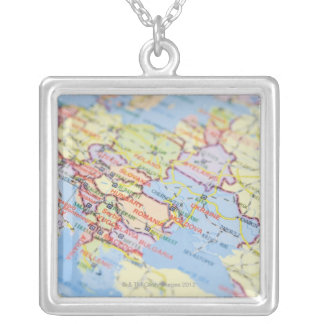 Map Silver Plated Necklace