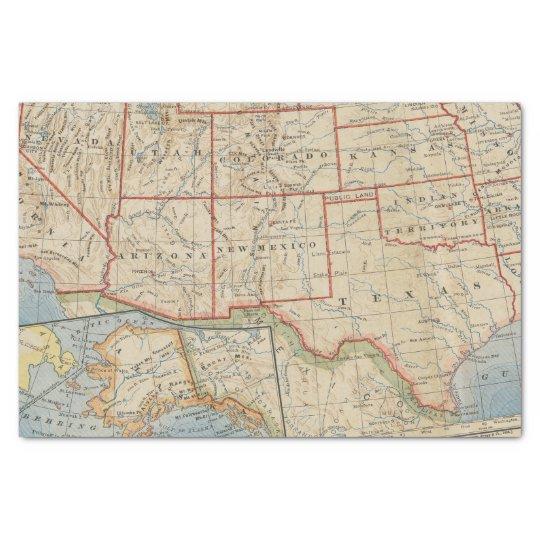 Map Southwestern United States and Alaska 1888 Tissue Paper