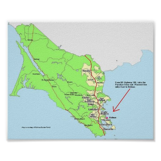 Map to Bolinas Poster