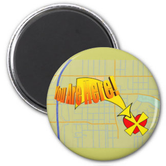 Map to my heart. You are here! 2 Inch Round Magnet