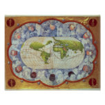 Map tracing Magellan's world voyage Poster