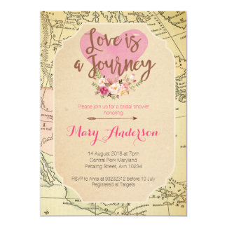 Map Travel Bridal Shower invitation