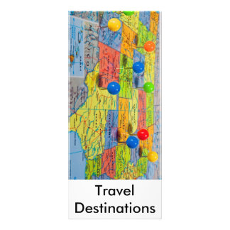 map , Travel Destinations Rack Card Template