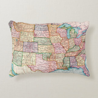 Map: United States, 1905 Accent Pillow