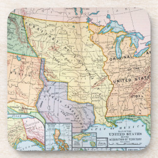 Map: US Expansion, 1905 Drink Coaster