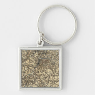 Map V illustrating the Military Operations Silver-Colored Square Keychain