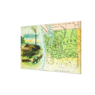 Map View of the State with a Lumbering Scene Canvas Print