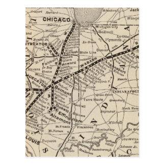 Map Wabash Railway Postcard